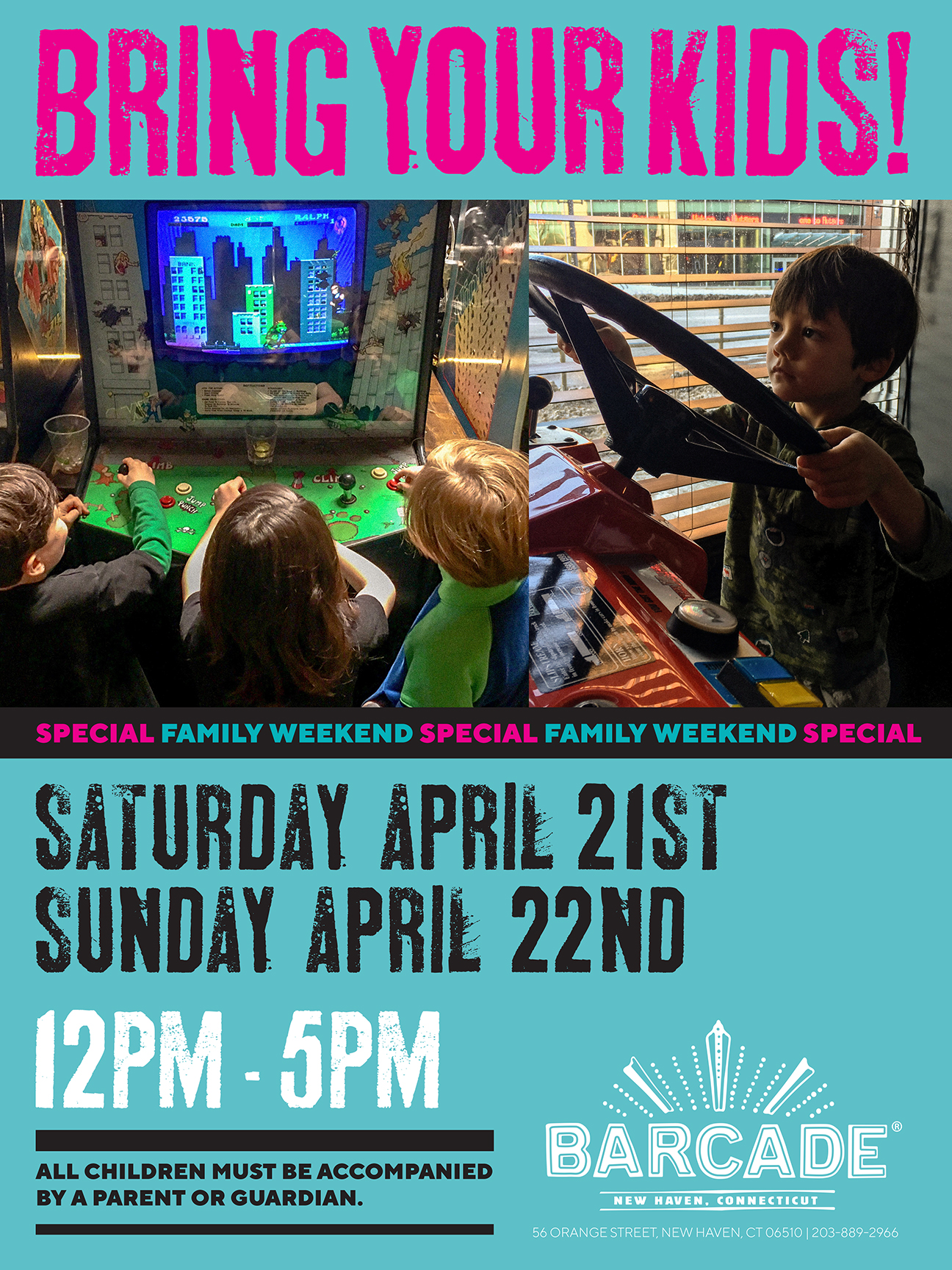 Bring Your Kids! Weekend 12pm-5PM — April 21st & April 22nd 2018 at Barcade® in New Haven, CT