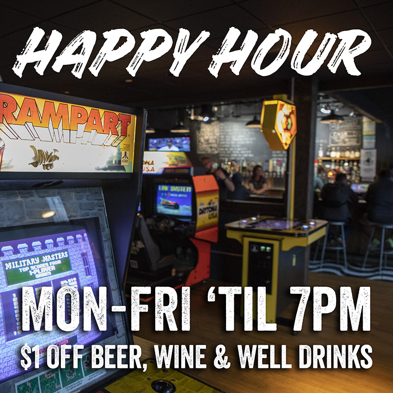 Barcade - New Haven Happy Hour Monday through Friday 12pm to 7pm $1 Off beer, wine and well drinks