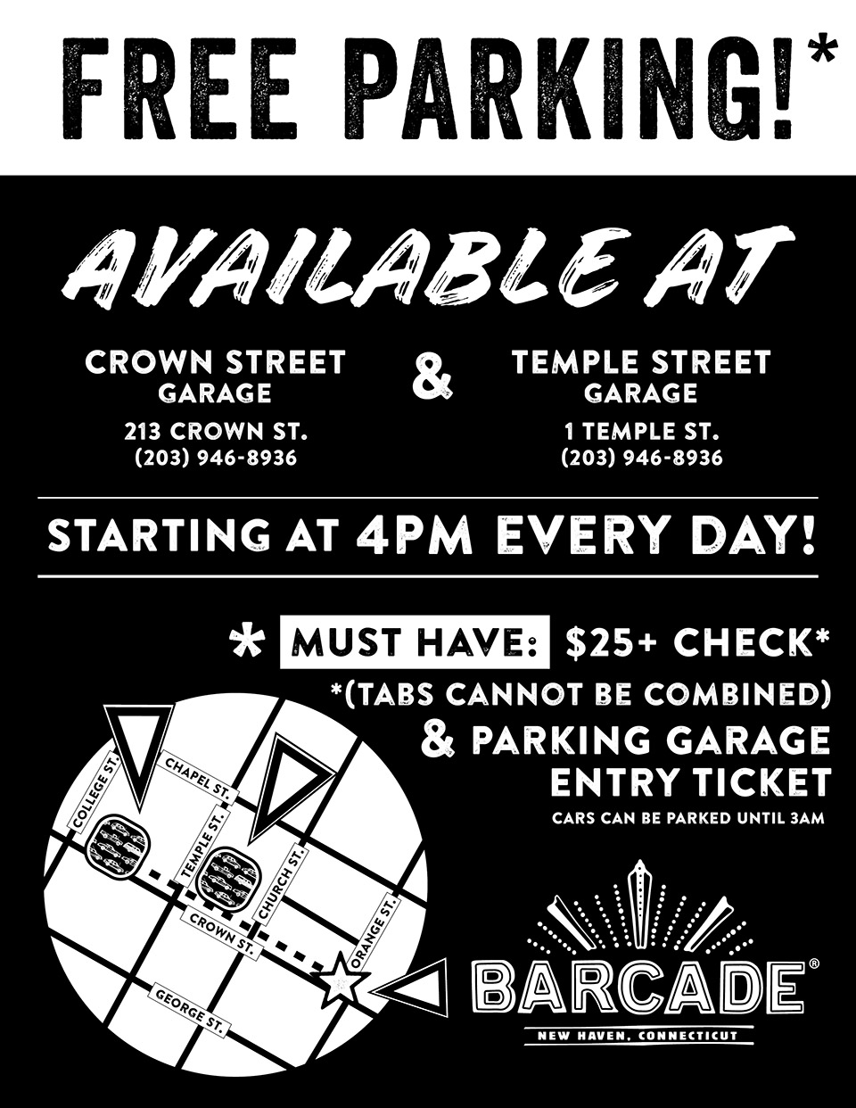Barcade® New Haven — Parking Validation Info
