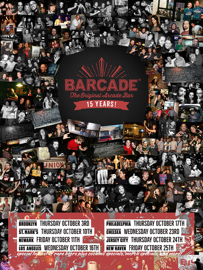 Barcade 15th Anniversary Celebration — October 25, 2019 at Barcade® in New Haven, Connecticut | poster