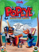 Popeye Saves the Earth (pinball) — 1994 at Barcade® in New Haven, Connecticut | arcade game flyer graphic