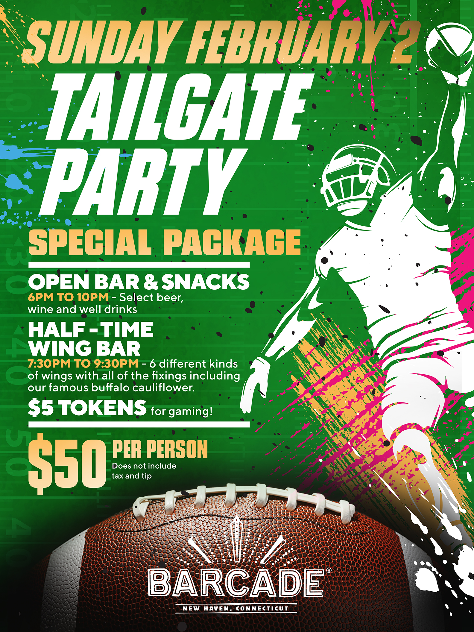 Tailgate Party at Barcade® on Sunday, February 2nd, 2020 in New Haven, CT