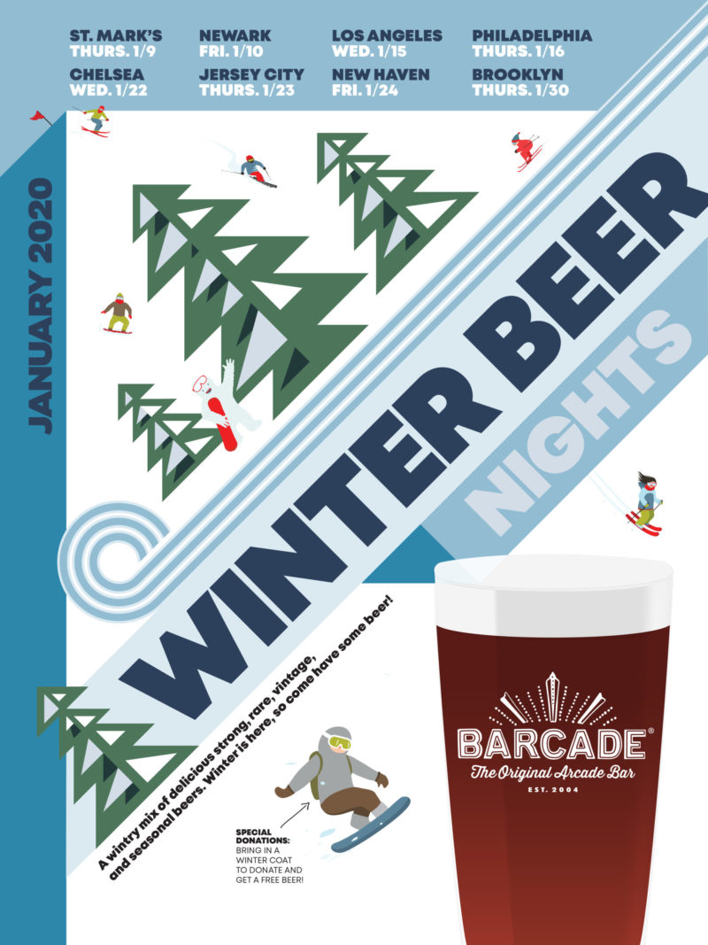 Winter Beer Night at Barcade on Friday, January 24th, 2020 in New Haven, CT