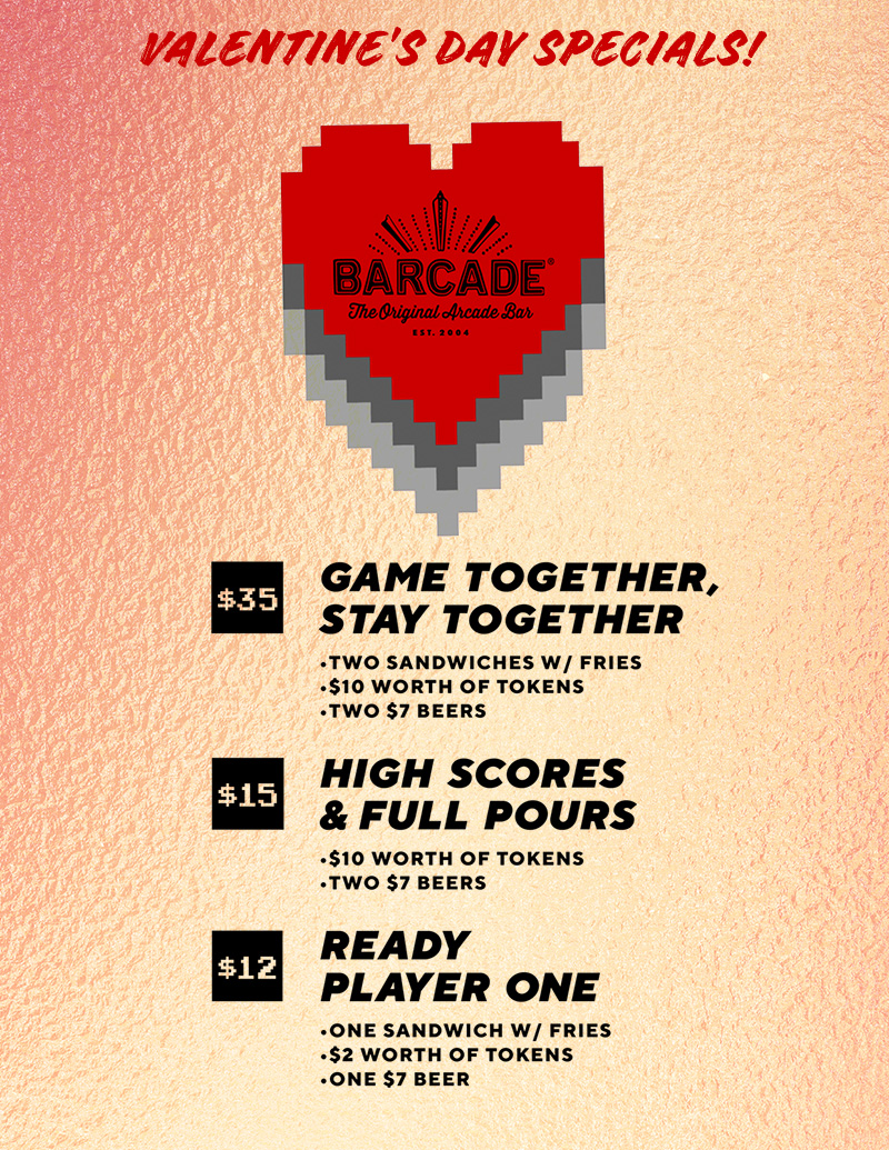 Valentines Day Specials at Barcade® in New Haven, Connecticut