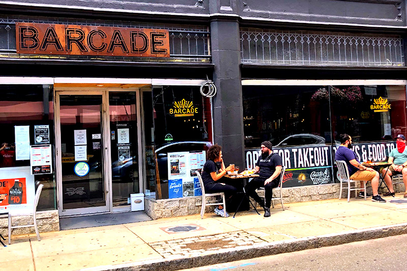 Barcade New Haven outdoor seating available