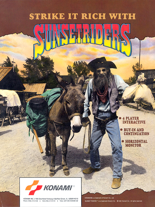 Sunset Riders — 1991 at Barcade® in New Haven, Connecticut | arcade video game flyer graphic